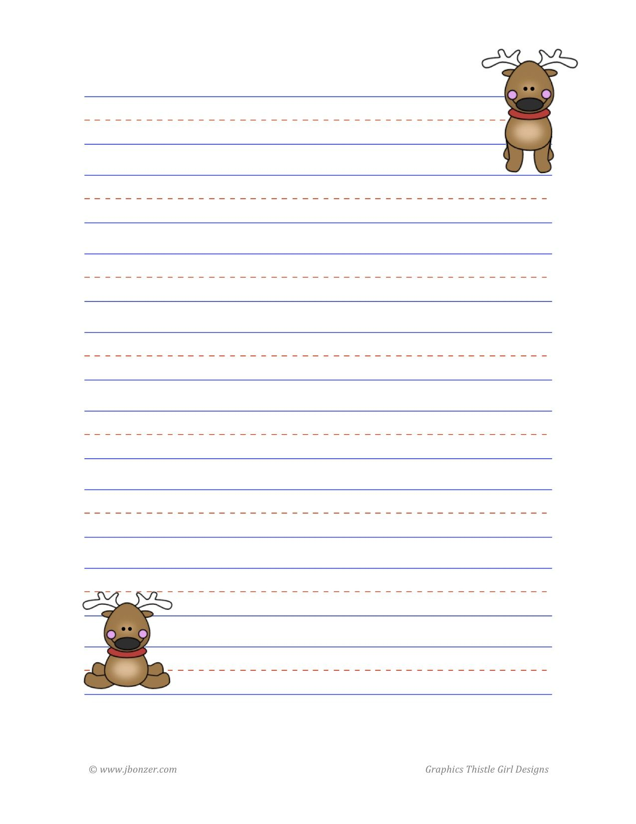 Reindeer Lined Writing Paper  School Ideas To Try