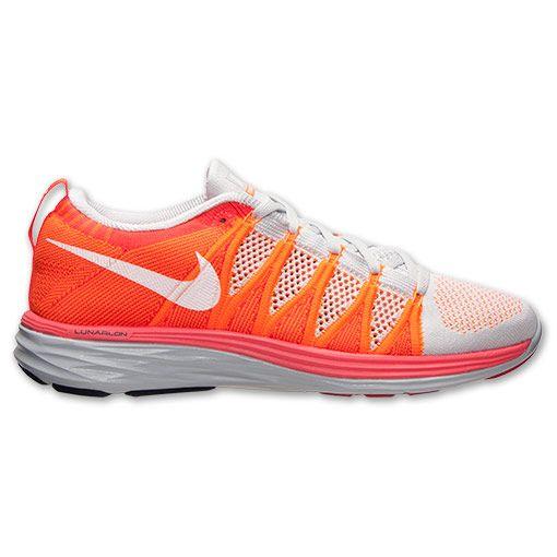 Men's Nike Flyknit Lunar2 Running Shoes| FinishLine.com | Pure Platinum/White/Atomic Orange