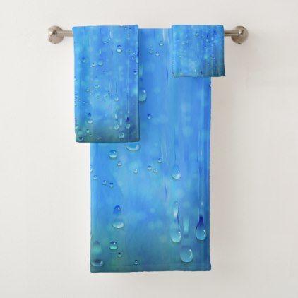 Wet Blue Bathroom Towel Set Bathroom towels