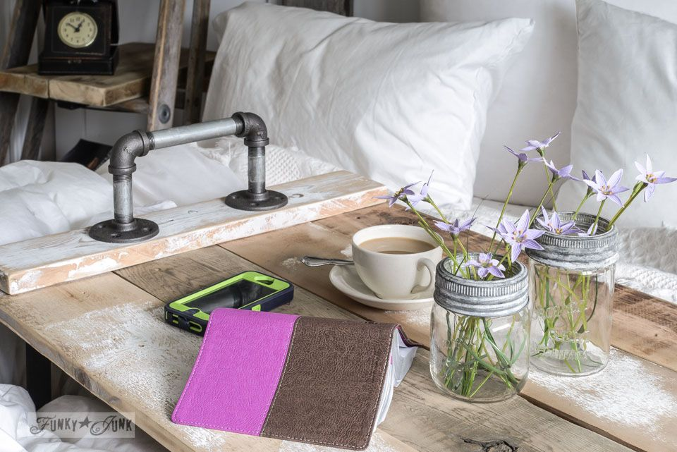 Industrial wood and pipe bed tray