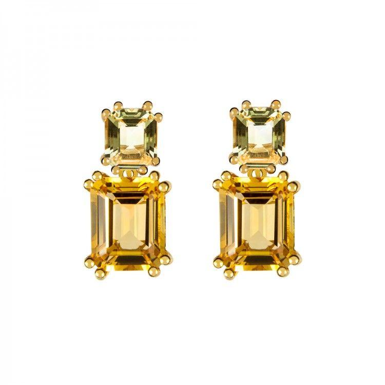 889b8a8dcd2a Pendientes cortos con garras y piedra talla esmeralda en plata  oro amarillo