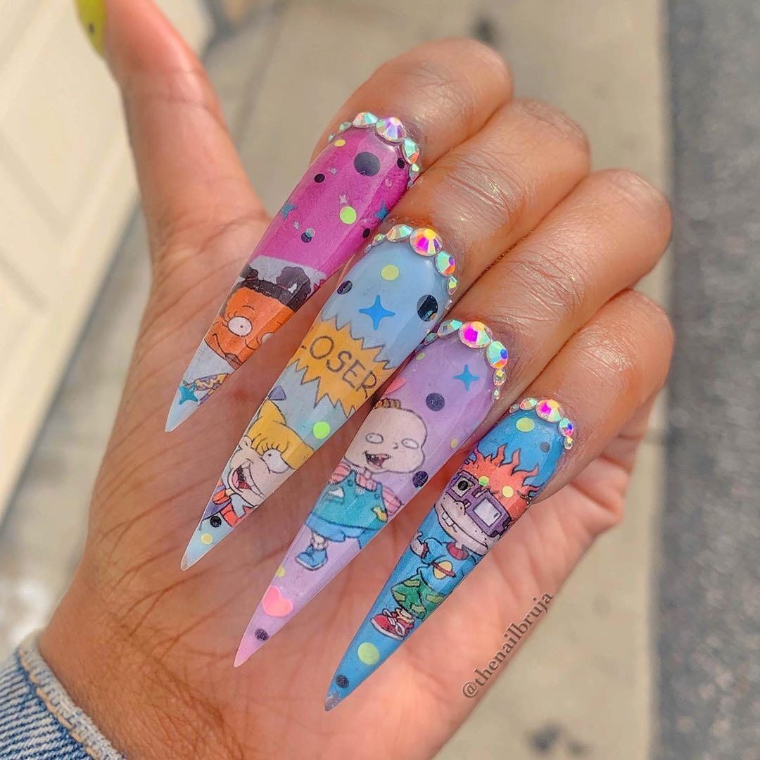 Dippy Cow Nails On Instagram Oh The Nostalgia Who Remembers The Rugrats Game On Ps1 So Creepy In 2020 Spring Acrylic Nails Secret Nails Woman With Longest Nails