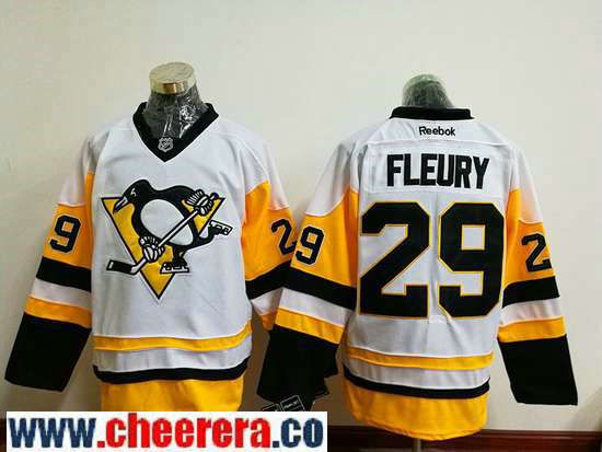 Men's Pittsburgh Penguins #29 Marc-Andre Fleury White 2016-17 Home Stitched NHL Throwback Hockey Jersey