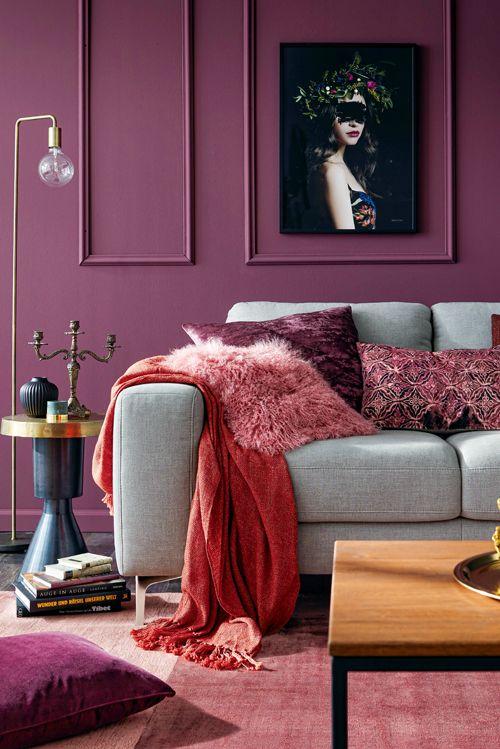 Subtil und doch kräftig Brombeere verleiht deinem Raum Wärme Mehr - Wohnzimmer Modern Lila