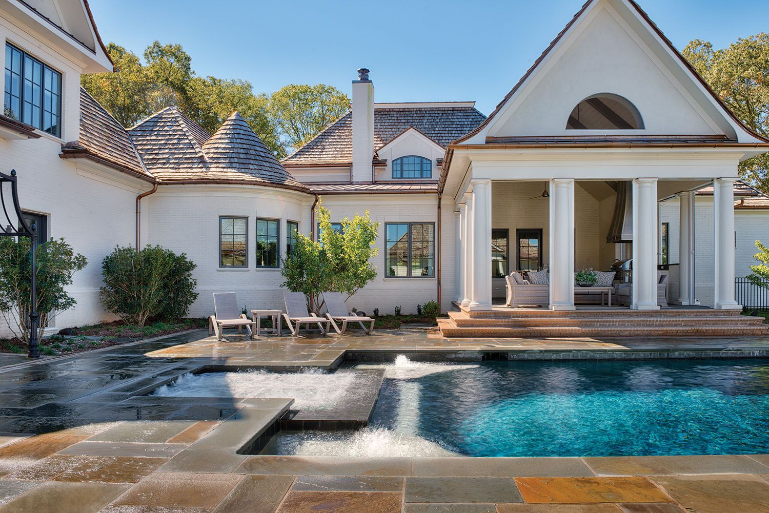 The New French Country   Rear View With Pool  Manor Born U2013 Carolina Home +