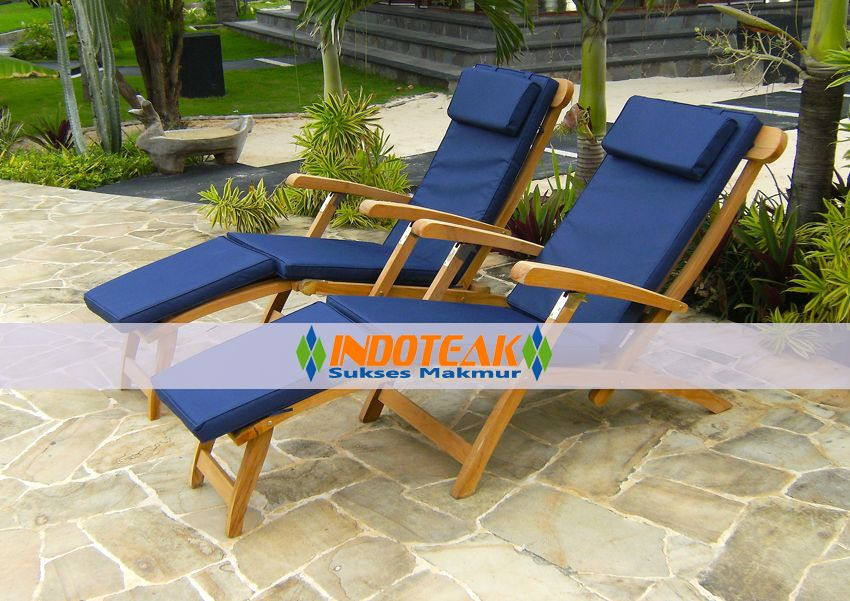 Cushions For Steamer Chairs Accent Living Room Cushion Teak In Blue Color Garden Furniture Chaise Manufacturers Hotel Projects Suppliers Indonesian