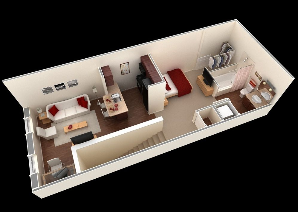 We Feature 50 Studio Apartment Plans In Perspective. For Those Looking For  Small Space Apartment Plans, Your Search Ends Here. Part 40