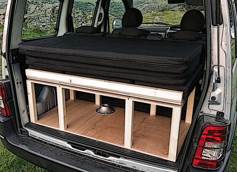 citroen berlingo peugeot partner renault kangoo camper van conversion module casas rodantes. Black Bedroom Furniture Sets. Home Design Ideas