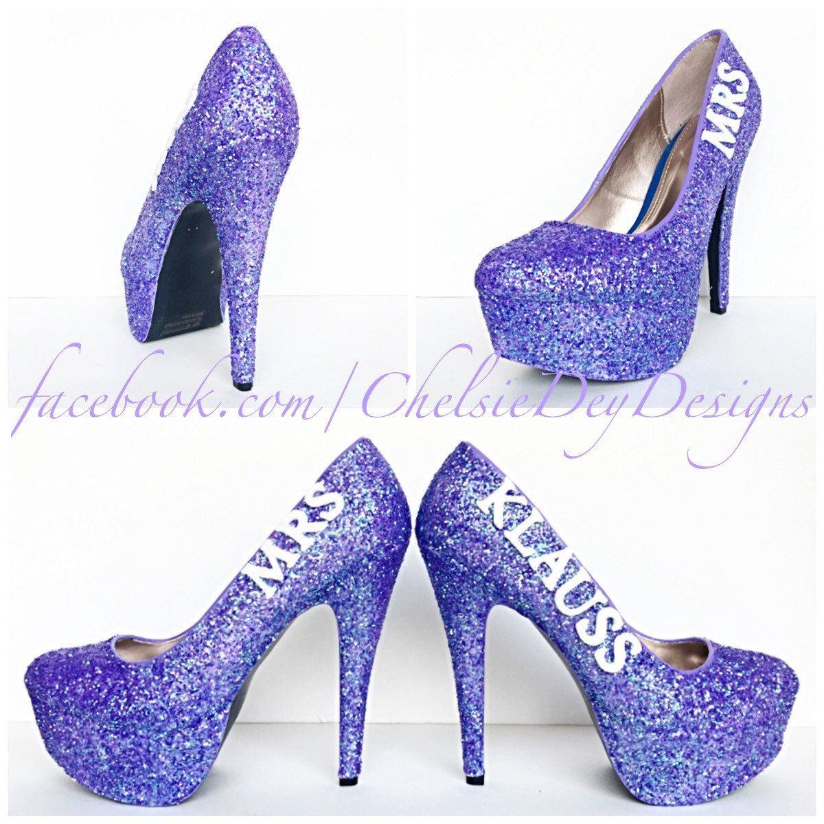2f9c02d1243 Lilac Glitter High Heels - Purple Lavender Silver Pumps - Wedding Last Name  - Sparkly Wedding Shoes - pinned by pin4etsy.com