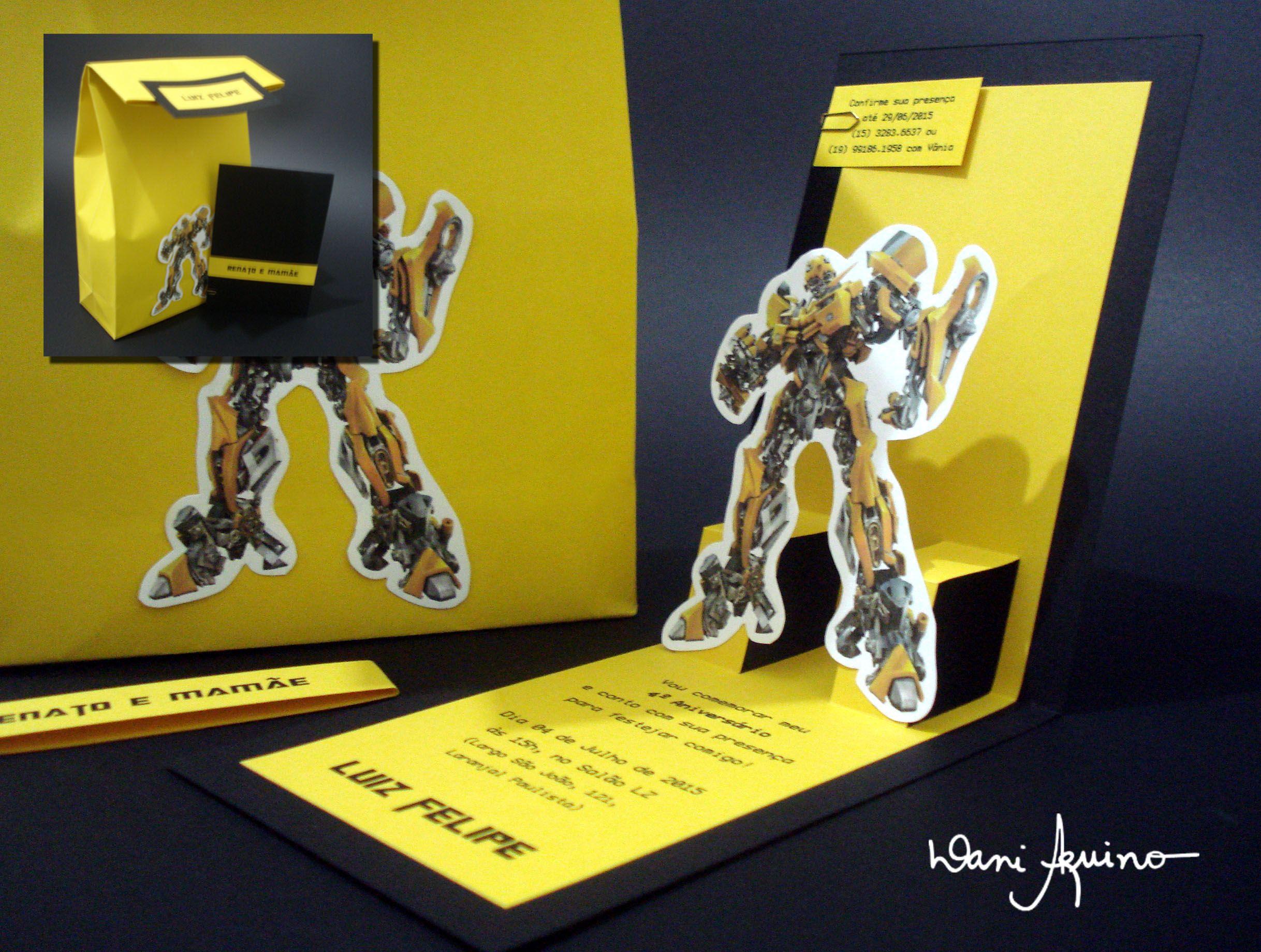 Convite Com Pacote De Entrega Tema Transformers Birthdays For