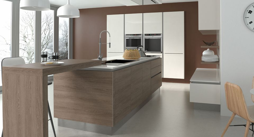 Best Contemporary Handleless Kitchen In Brown Orleans Oak With 400 x 300