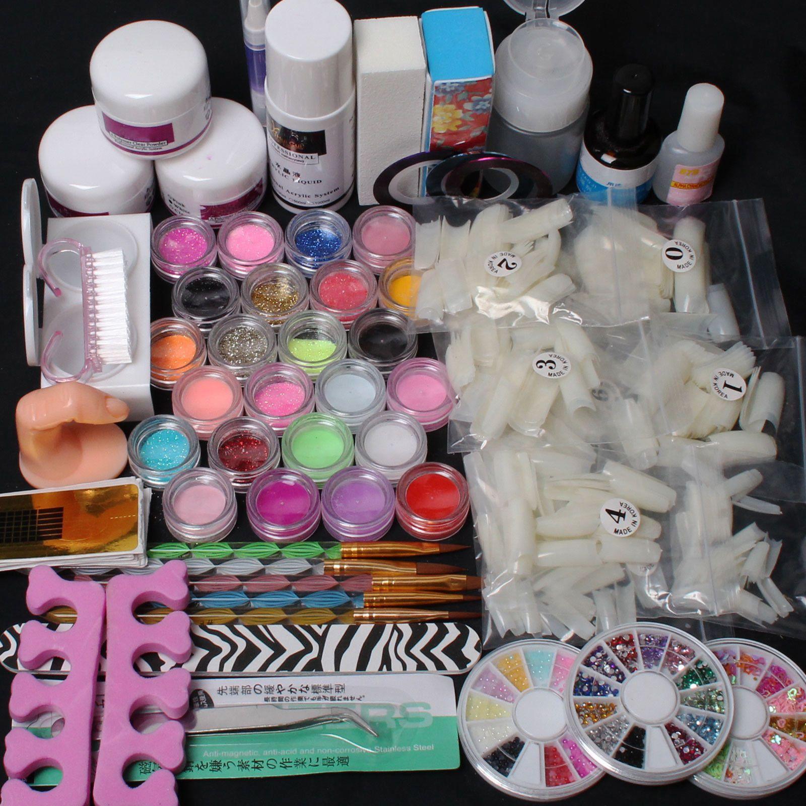 Diy Manicure Nail Art Kit 500pcs Half Nail Tips Acrylic Liquid