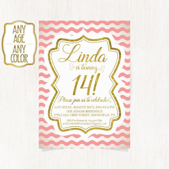 14th birthday invitation Fourteenth birthday party Gold glitter