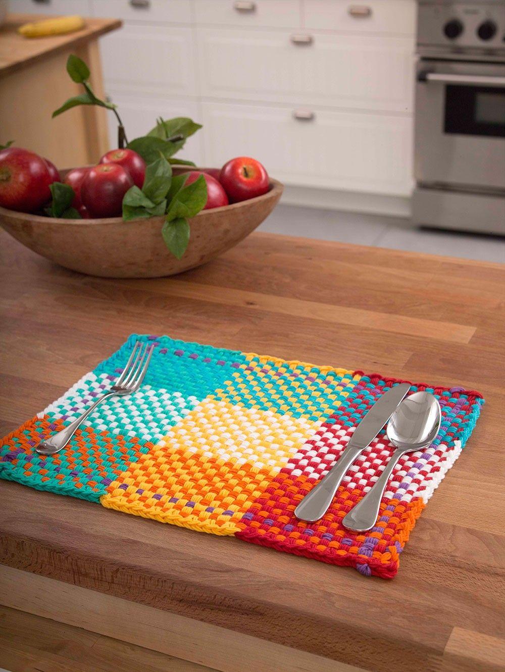 Loom Woven Placemat Pattern (Loom-Weave) | knitting | Pinterest