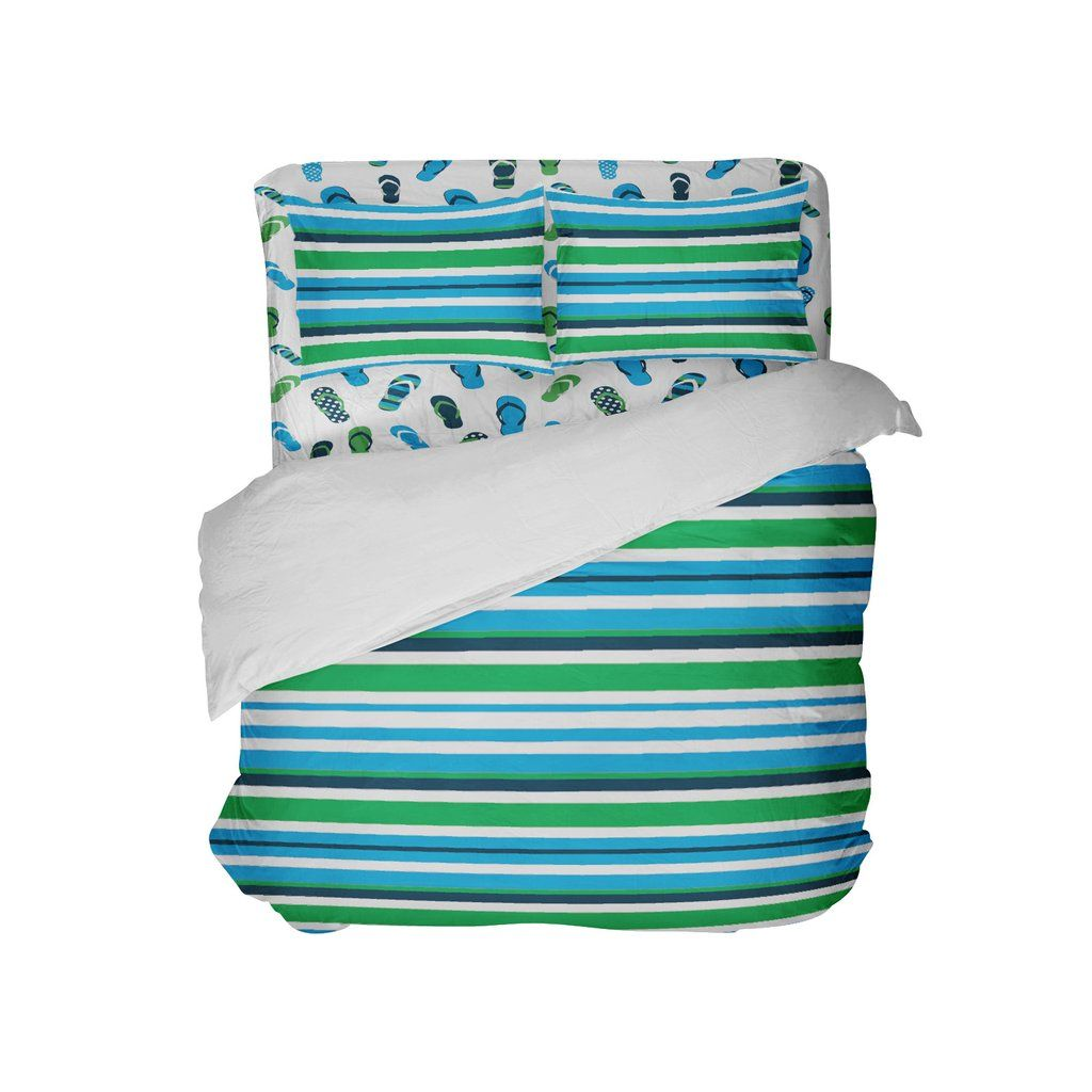 83b7af0a09e9 Surfer bedding preppy beach stripes and flip flops comforter set jpg  1024x1024 Flip flop bedding sets
