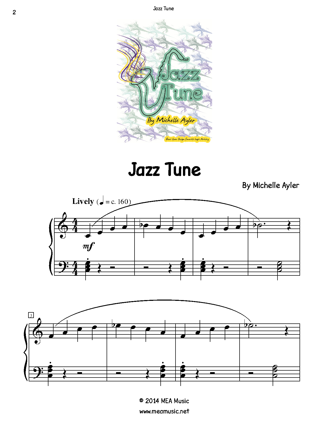 Jazz Tune Piano Sheet Music Solo First Page Sample Of A