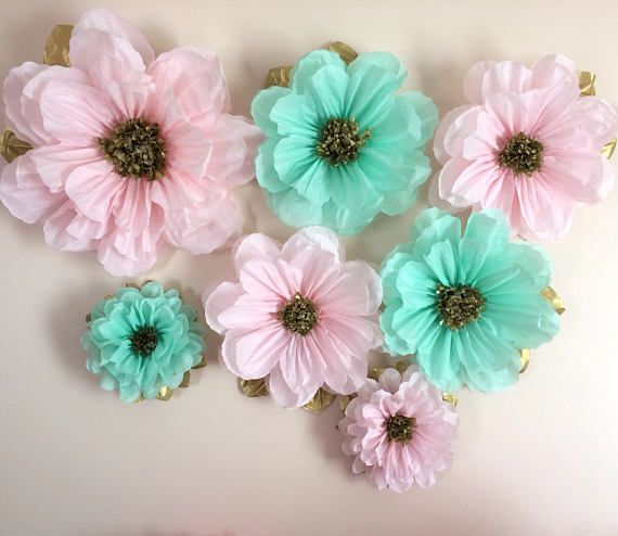 Flower Pink Mint And Gold Tissue Paper Flowers Poms Wall Decoration