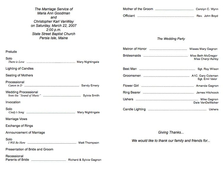 Example Of Program  Programs    Wedding Programs