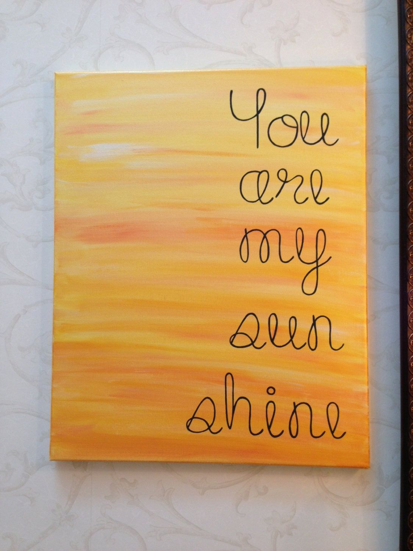 You are my sunshine. Nursery wall art. Playroom wall art. Lyric art ...