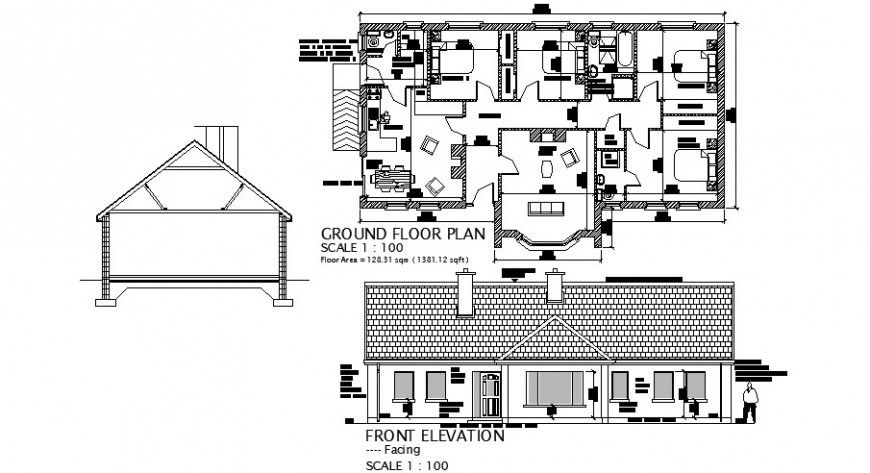 House front elevation, section and ground floor plan cad drawing