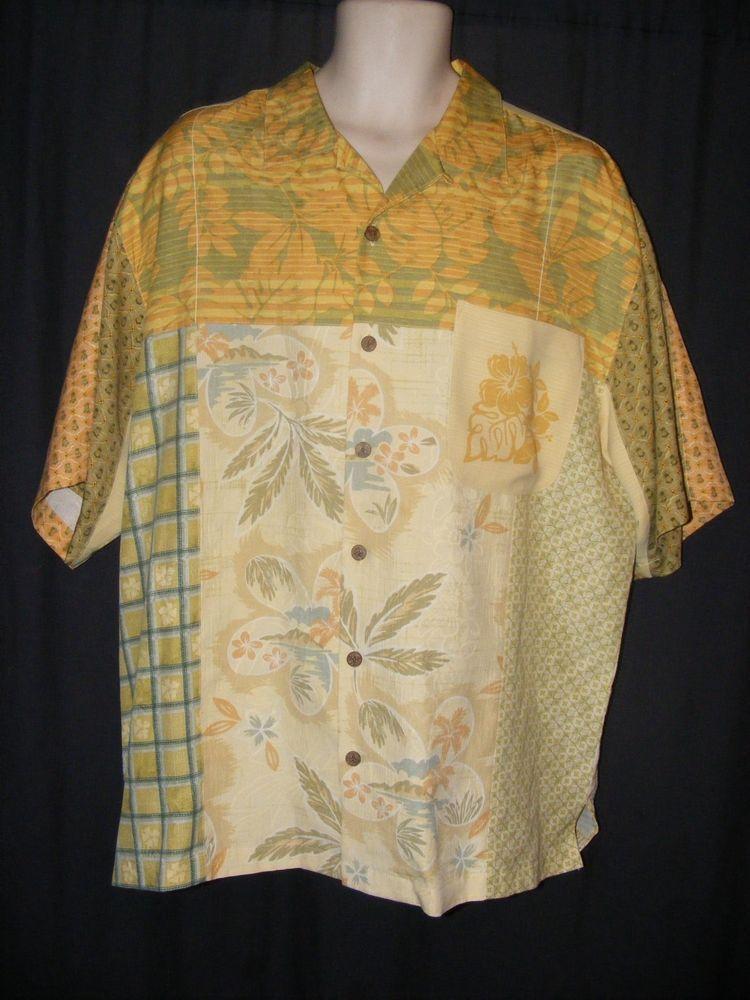 Tommy Bahama Multi Pattern Color Floral Pineapples Hawaiian Camp Shirt L #TommyBahama #Hawaiian