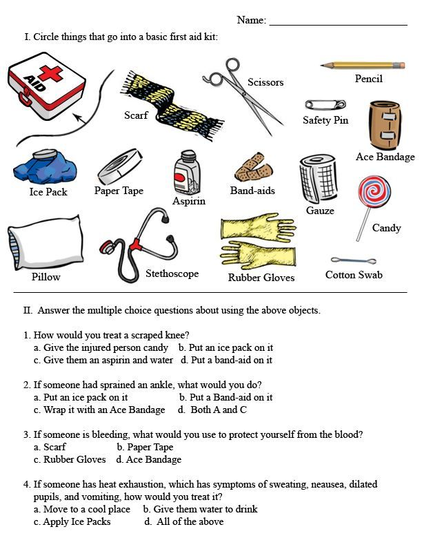 First Aid Activity Worksheets First Aid Kit – Cub Scout Belt Loops Worksheets