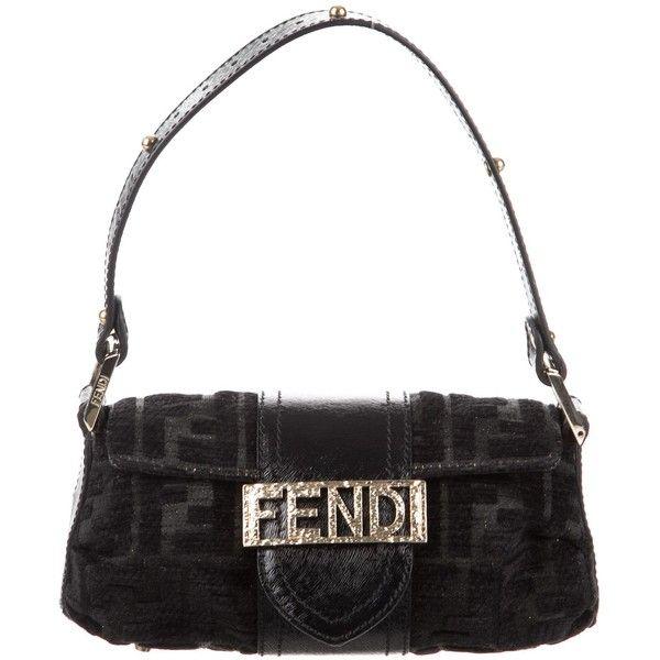 Pre Owned Fendi Mini Zucca Velvet Handle Bag 200 Liked On Polyvore Featuring Bags Handbags Black Mini Hand Bags Glitte Bags Metallic Handbags Shoe Bag
