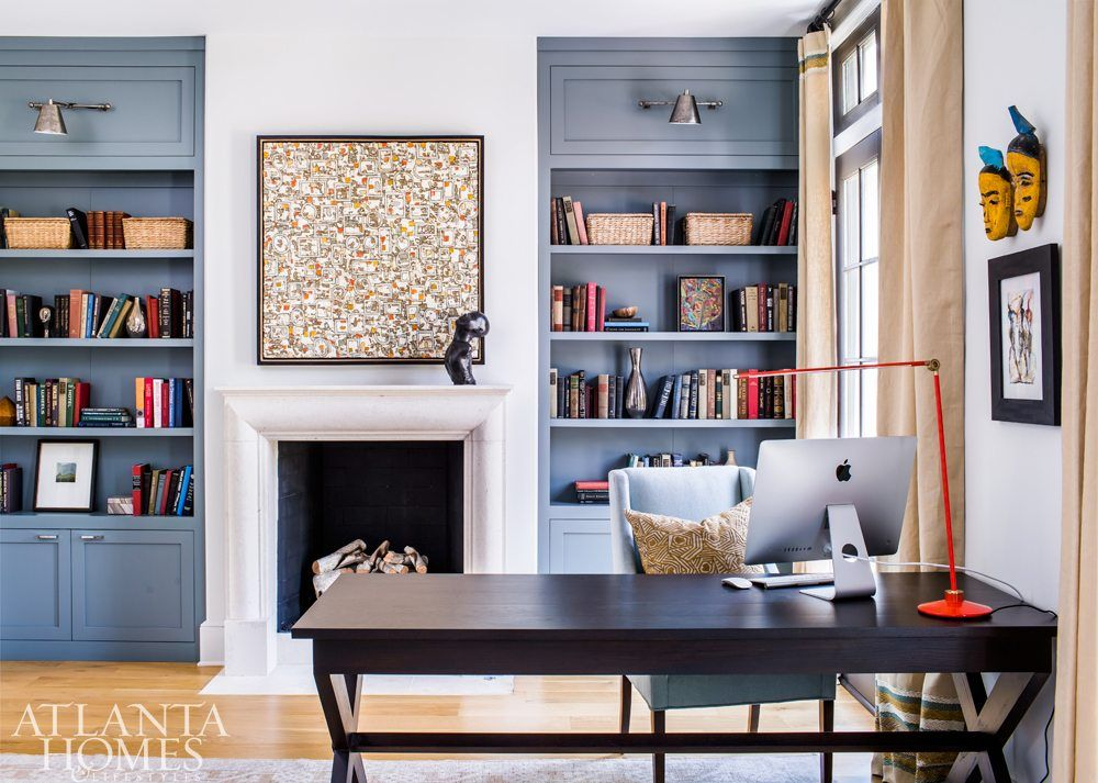 living room wall cabinets built%0A Benjamin Moore u    s Templeton Gray makes the builtin bookcases stand out in  the library