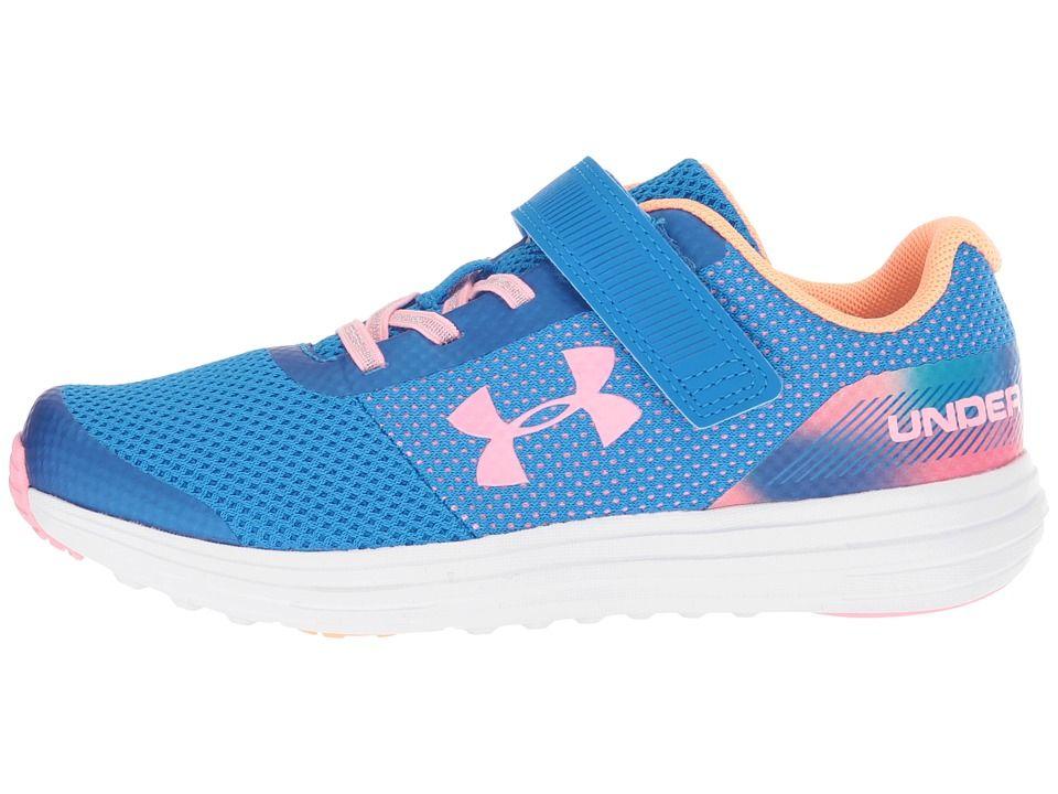 wholesale dealer 70fdf 0638f Under Armour Kids UA GPS Surge RN Prism AC (Little Kid) Girls Shoes Blue  Circuit/Jazz Blue/Pop Pink
