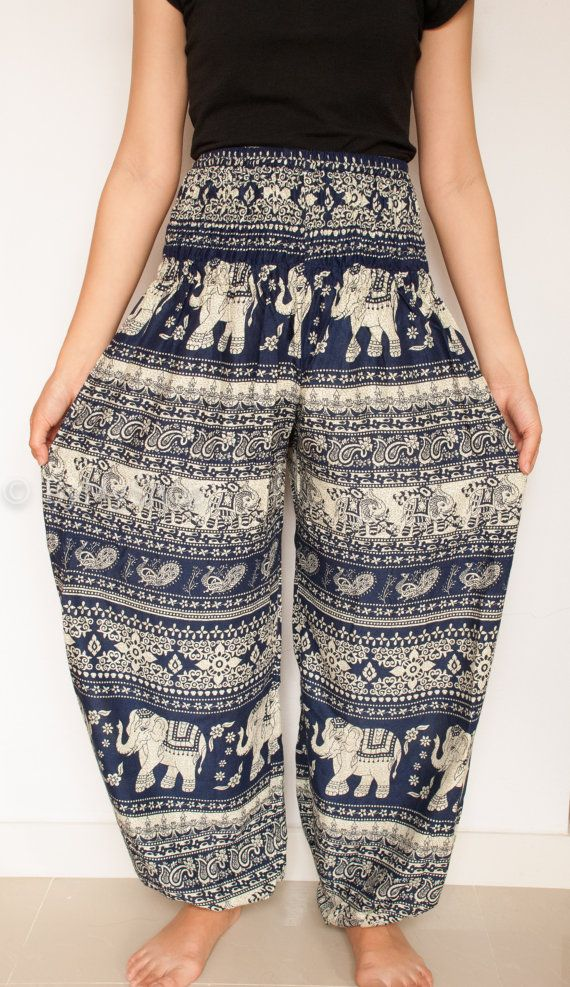 4628a63578fcb Woman harem pant Harem Pants Yoga Pants Aladdin Pants Boho Pants with  Pocket rayon print fabric elastic waist harem pant thai pant long pant and  they have ...