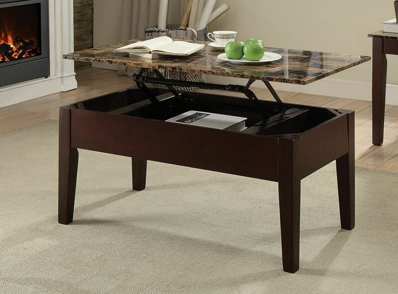 Acme 84555 Dusty Ii Cherry Finish Wood Faux Marble Lift Top Coffee Table