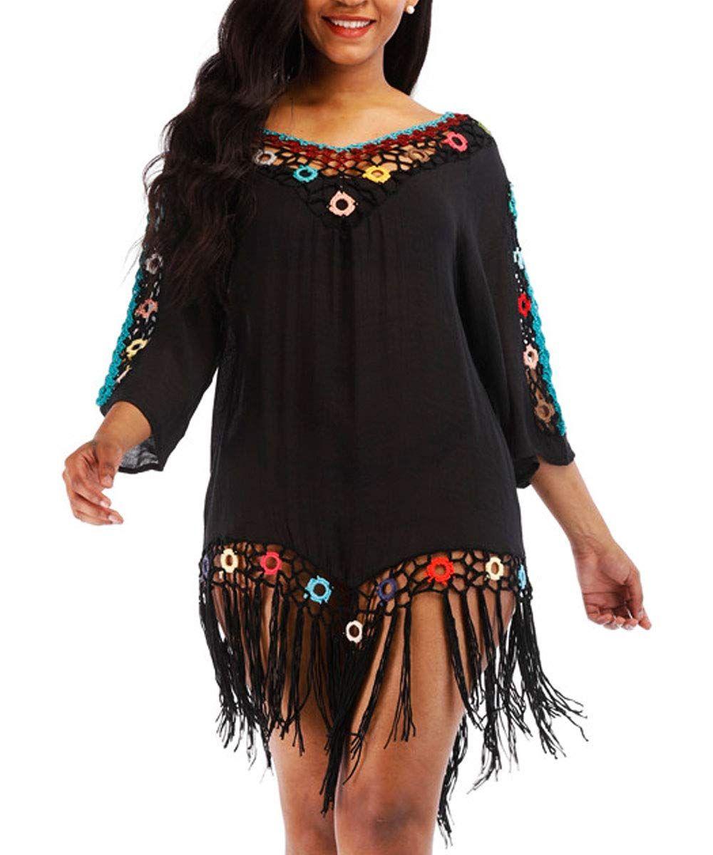 Women's Swimsuit Cover Ups Tassel Crochet Beach Dress