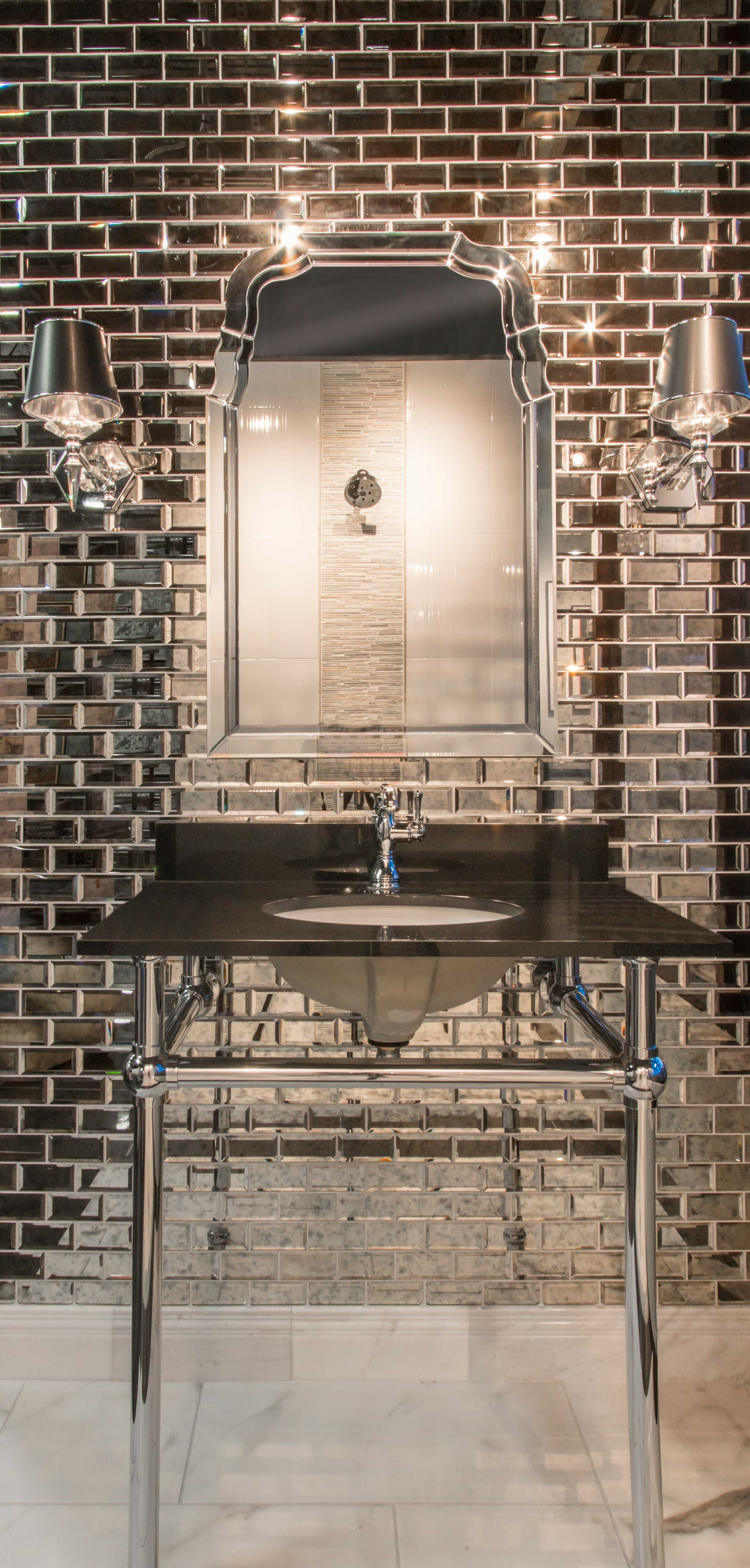 Infused Metallic And Reflective Elements In This Bathroom Tile The Antique Mirror Bevel Mirror Tiles Bathroom Glass Tile Bathroom Mirror Backsplash Bathroom