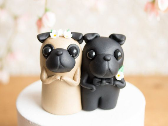 Black Pug Wedding Cake Topper Adorable Decor In 2019 Pug