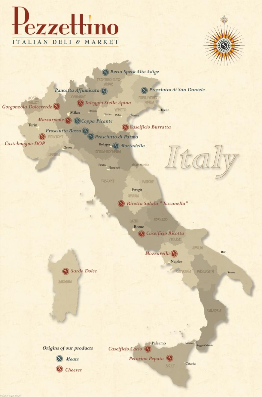 Pezzettino Italian Deli & Market - Origin of products ©Eureka Cartography, Berkeley, CA