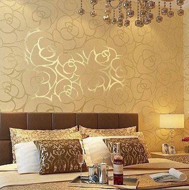 Background wall Modern velvet wallpaper gold roses for living room ...