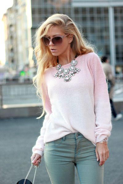 winter pastels: angora pink sweater, blue-green jeans and ...