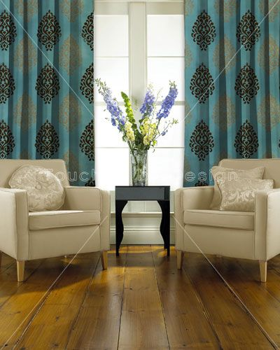 Curtain panels in turquoise and brown | Made to Measure Curtains ...