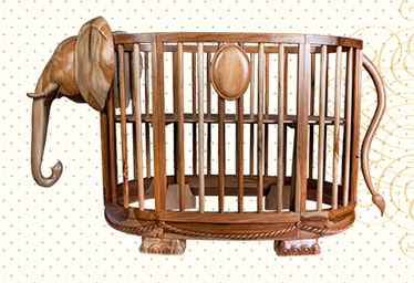 elephant wood crib