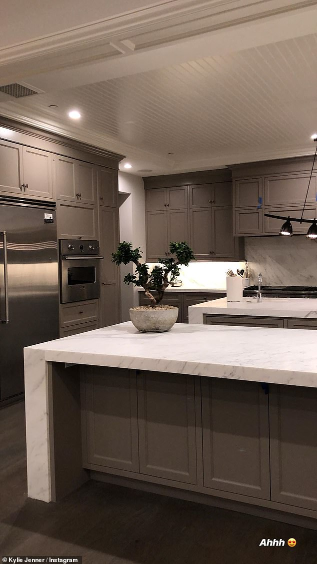 Kylie Jenner shows off her newly remodeled dark grey kitchen