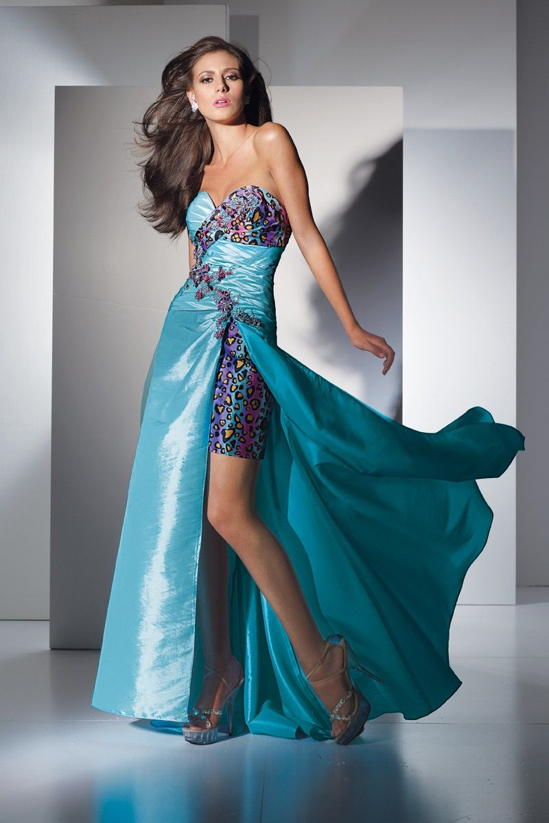 Funky sweetheart long gown with unique leopard print over-layed ...
