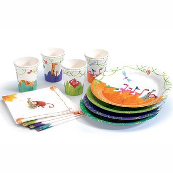 Kids Party Tableware Djeco Savannah From Greatgifts4kids Co Uk Kids Party Tableware Party Tableware Birthday Party Set