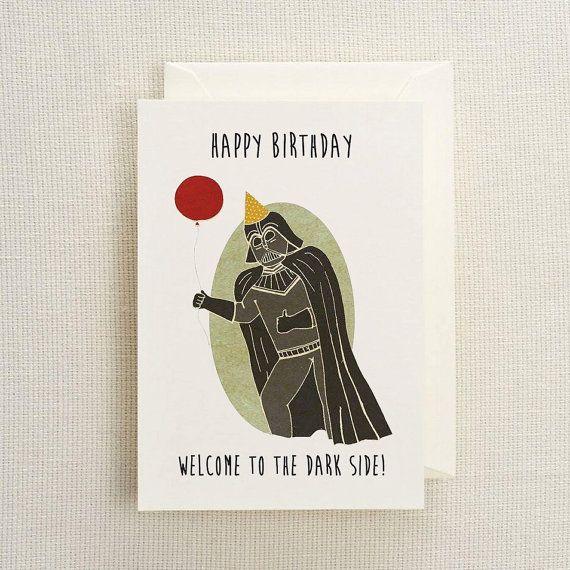 Darth Vador Birthday Card by MartinLeLapin on Etsy