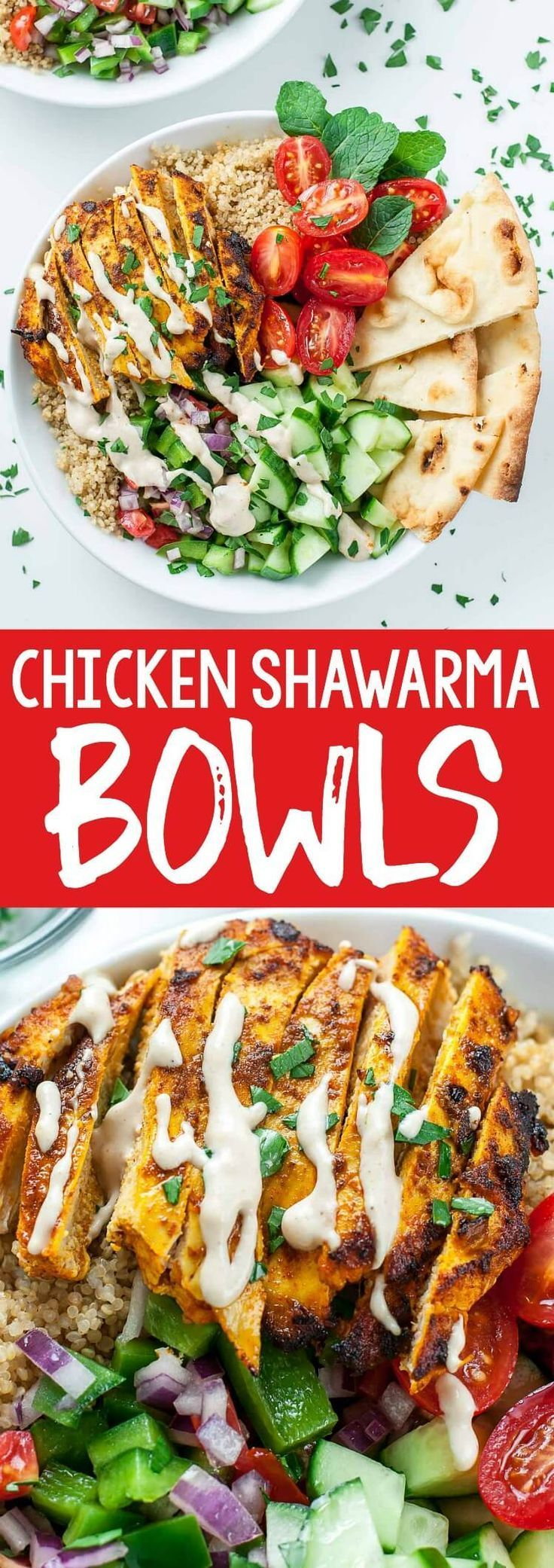 We re loving this recipe for healthy Chicken Shawarma Quinoa Bowls with a super easy hack for creat