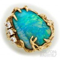 Черный опал, алмазное и золотое кольцо | Наша коллекция in ...