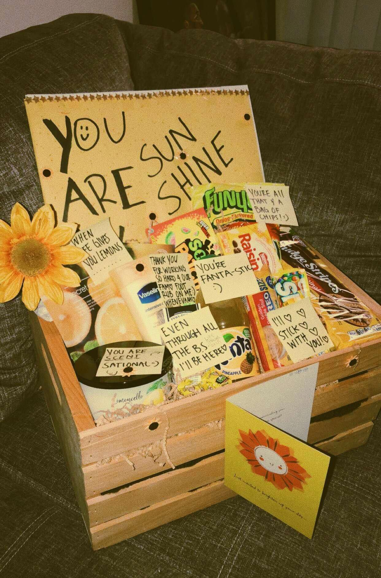 These Exciting Presents Will Likely Show Your Ex Girlfriend Just How Much You Re Considering Her This Chris Sunshine Gift Box Sunshine Gift Girlfriend Gift Box