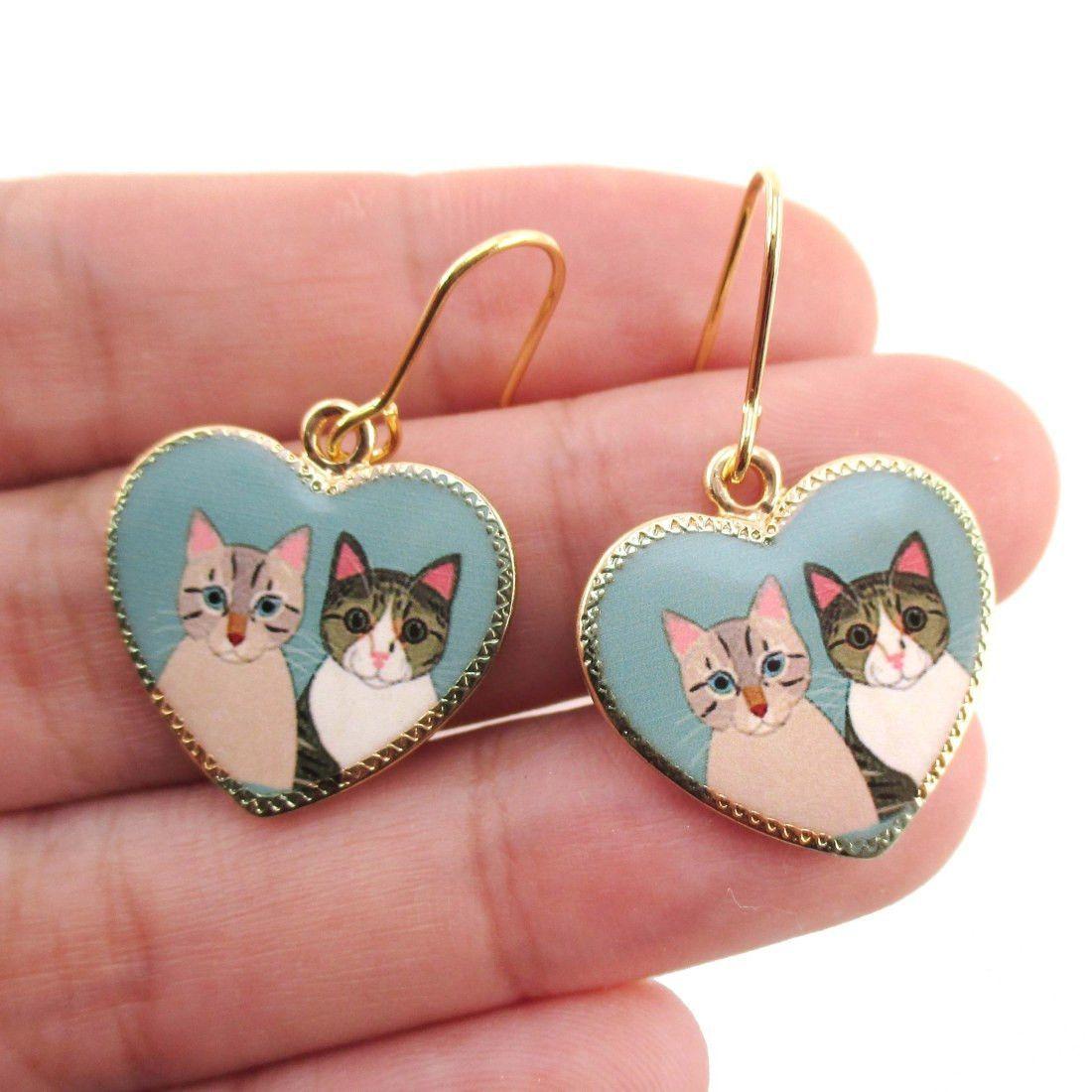 Heart Shaped Illustrated Cat Portrait Dangle Earrings Animal Jewelry Animal Jewelry I Love Jewelry Cat Earrings