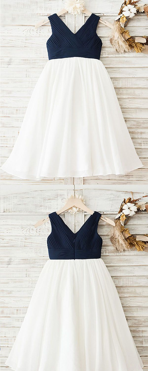 Aline vneck tealength navy blue empire chiffon flower girl dress