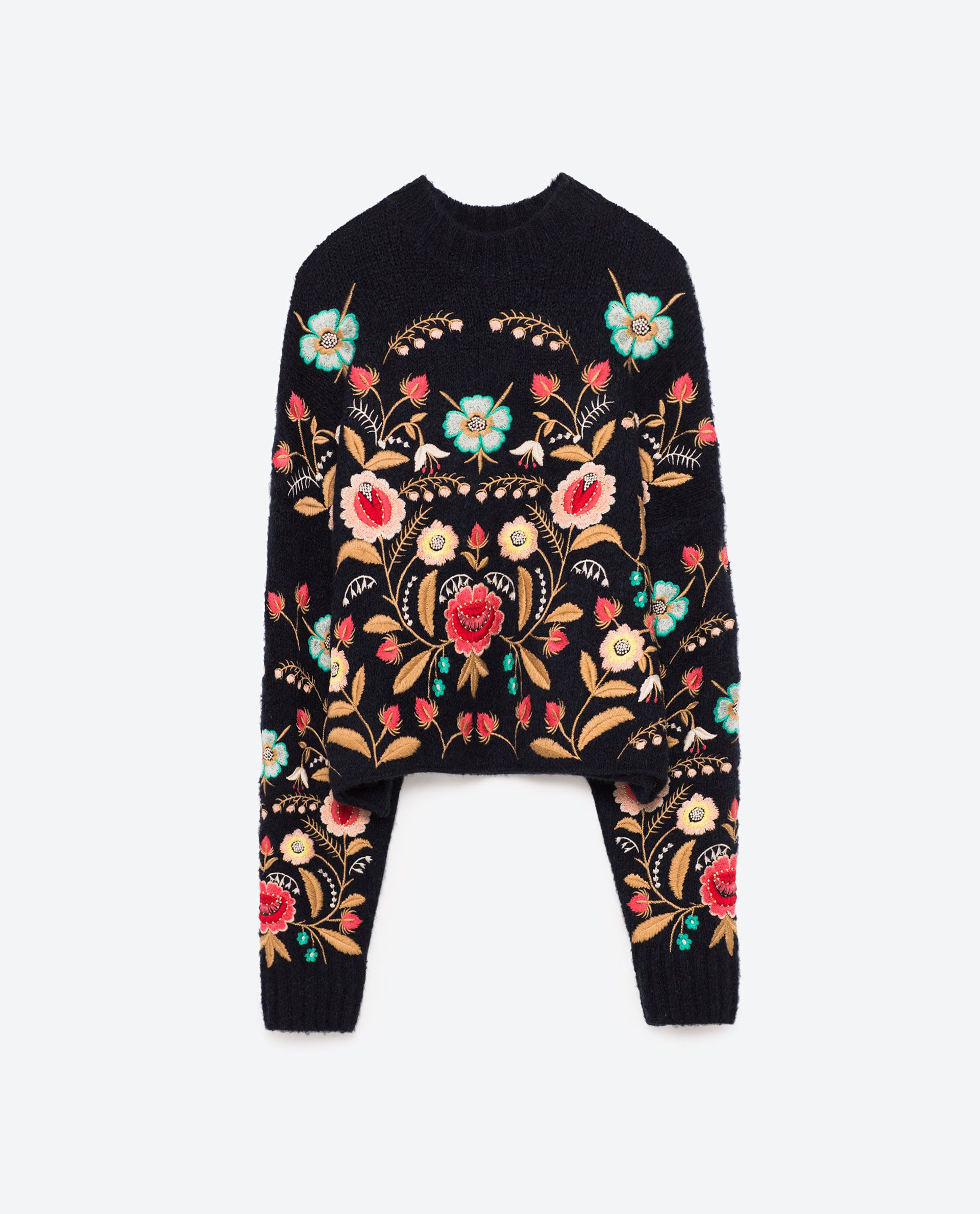 7cff89269bec07 Image 8 of FLORAL EMBROIDERED SWEATER from Zara