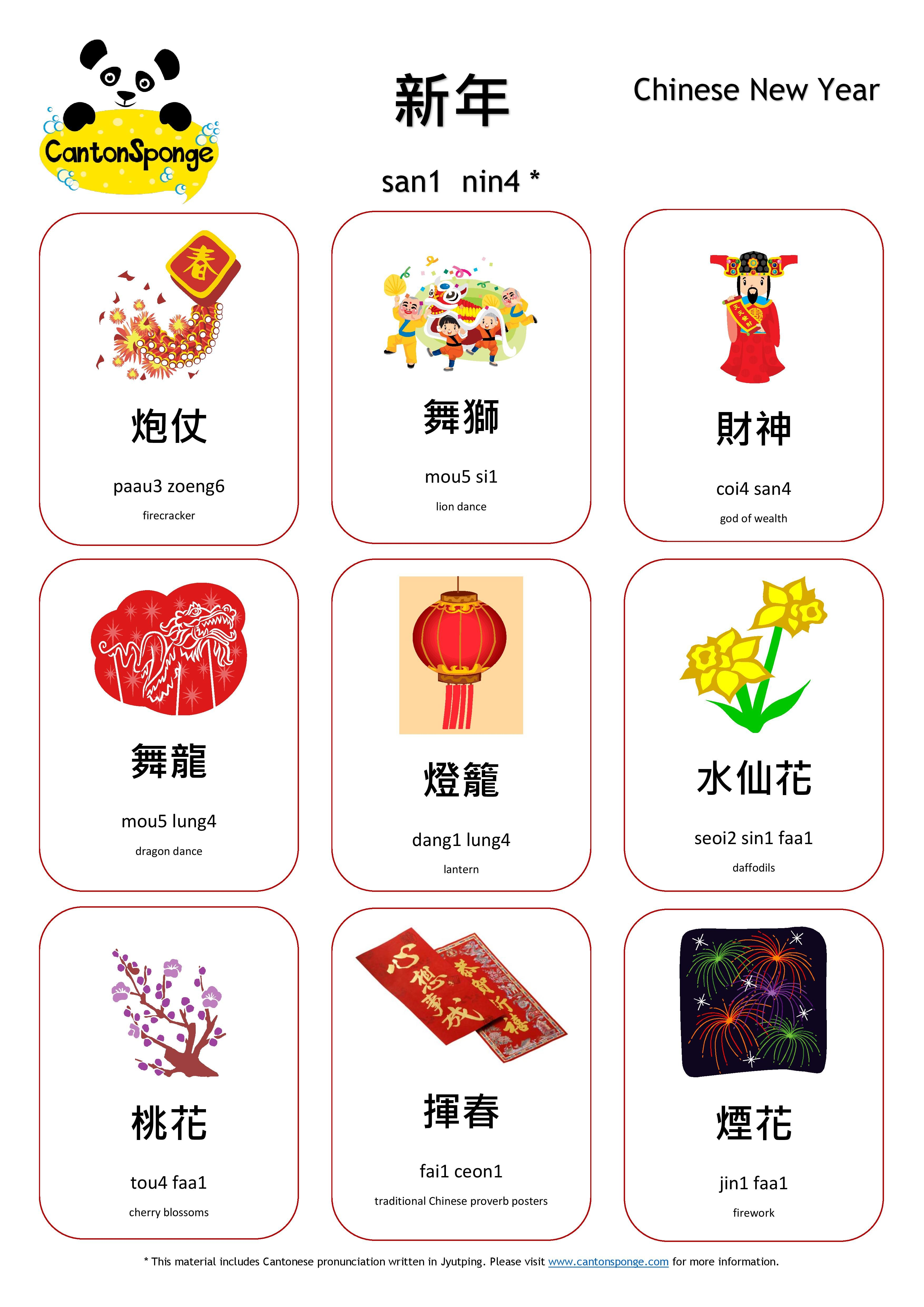 Chinese New Year Cny Cantonese Vocabulary Poster Created